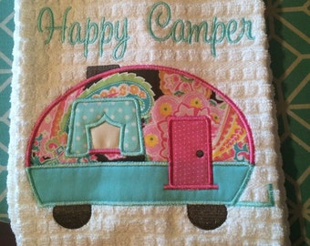Happy Camper dishtowel