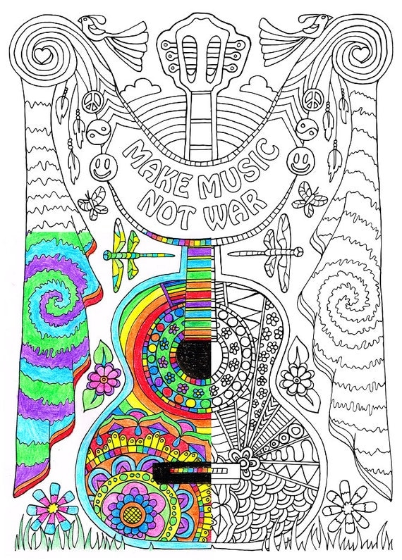 Coloring Page for Adults Make Music Printable coloring