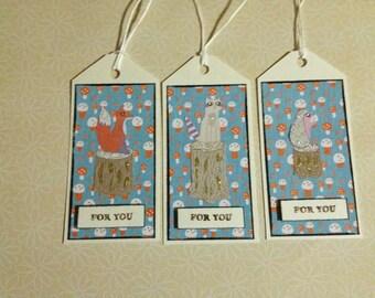 Set of three handmade woodland themed gift tags