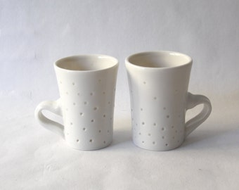 Modern porcelain Espresso cups - TWO small white contemporary ceramic mugs - white pottery coffee cup set by Curve Ceramics