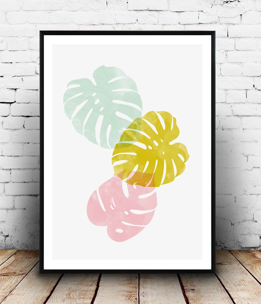 Monstera leaf print watercolor art nordic design home - Cuadros posters laminas ...