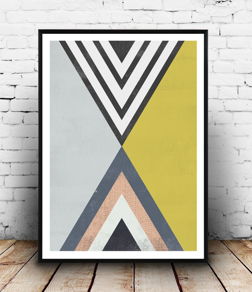 Triangles art Abstract poster geometric poster op art