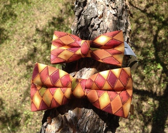 duop burgundy and yellow diamond bow tie