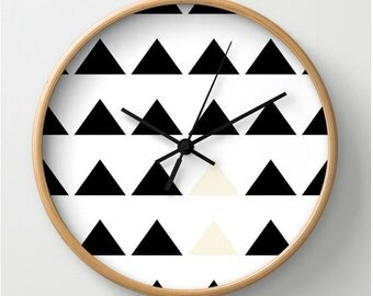 Wall clock, wood, black, white, abstract