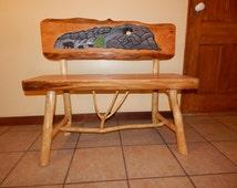 Oak Wood Bear Bench