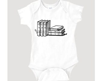 Stacked Books graphic on 100% Cotton Onesie/Creeper/Bodysuit