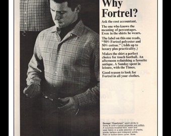 "Vintage Print Ad November 1964 : Celanese Fortrel ""Why Fortrel?"" Advertisement Color Wall Art Decor 8.5"" x 11"""
