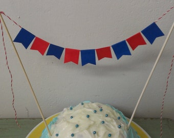 Red and Blue Cake Bunting. Cake Banner. Cake Garland. Cake Topper. Mason Jar Garland. Small Garland Decor. Expired
