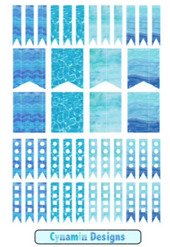 Aqua and Blues Printable Planner Stickers Planner Page Flags