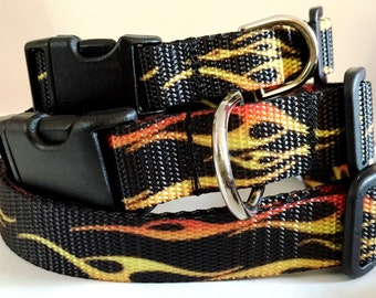 Dog Collar and Leash (optional) -Boy Dog Collar - Flame Dog Collar-Medium or Large Dog Collar - Racing, Motorcycles
