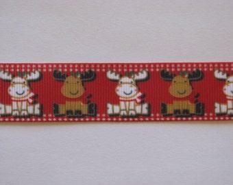 christmas reindeer 7/8' grosgrain ribbon red