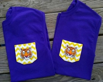 LSU Tiger Pocket Tshirt womans monogrammed youth girls baby toddler any size color design southern purple yellow Chevron