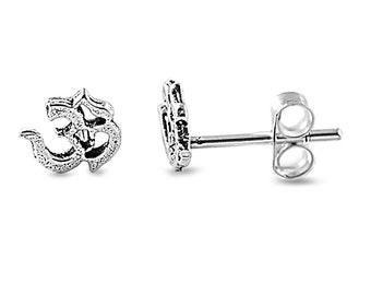 Tiny Om Sigh Antique Style Stud Earrings Sterling Silver .925