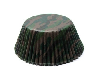 Camo Print Green & Brown Camouflage Standard Size Cupcake Liners | 25 pieces