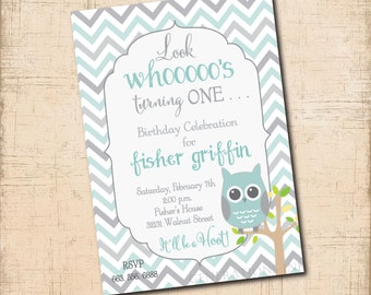 OWL Boy Birthday Invitation printable/Digital File/boy 1st birthday, 1st birthday, Owl first birthday, blue and gray/Wording can be changed