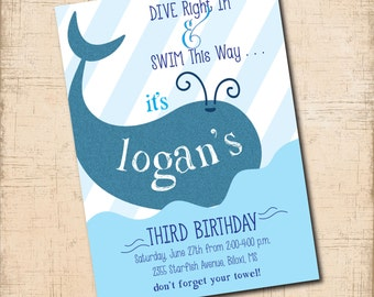 Birthday Swim/Party Invitation / digital file / printable / wording and age can be changed