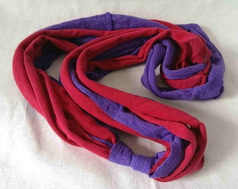 Pink and Purple Recycled Fabric Statement Necklace