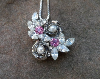 Gorgeous Silver Floral Rose Necklace with Rhinestones and Pearls- Stunning statement piece and custom-made by hand!