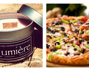 PIZZA scent! - Wood or Traditional Wick Soy Candle - Lumière Candle Company - 4 oz Travel Tin