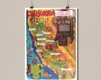 Poster - California Wine Land - Vintage Food Drinks Poster Advertising Retro Kitchen wall decor Design Art Print Quality Home Wall Decor