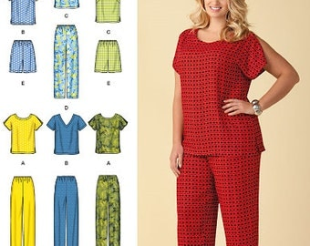 Simplicity 6 Made Easy sewing pattern 1446 Tops, Pants or Shorts, Misses, Womens, Teen Girls, + Plus Size Coordinates - new and uncut