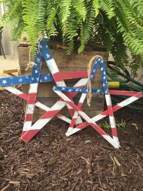 American flag wood star pallet wood patriotic by for Patriotic welcome home decorations