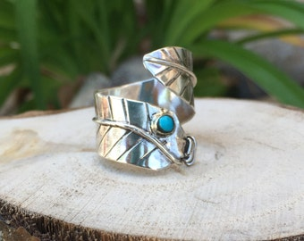 Silver and Turquoise Feather Ring