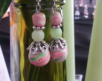 Green and pink swirled polymer earrings. Watermelon swirl earrings