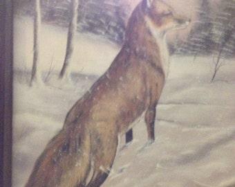 Standing fox in snow storm