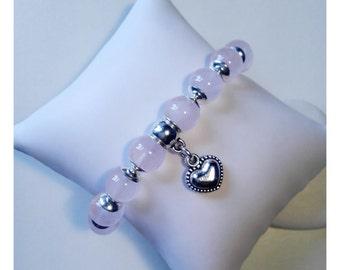 Rose Quartz Stretchy Heart Charm Bracelet