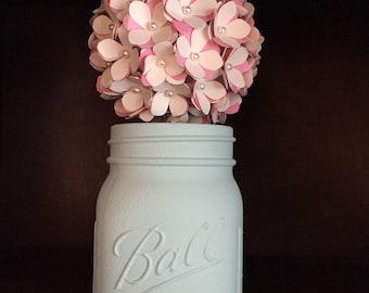 Rustic mint cream and pink paper hydreanga ball in hand painted mason jar