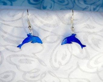 "dolphin earrings, 100% recycled plastic ""shrinky dink"""