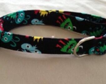 Adjustable Little Monsters Print Dog Collar