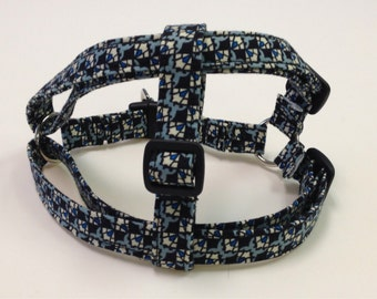 Adjustable Black and Blue Print Step-In Harness