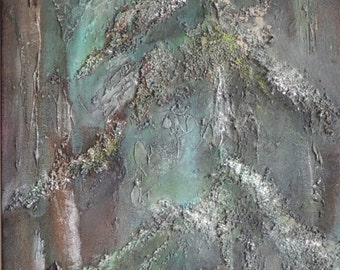 "SOLD Original Acrylic Painting. Abstract, textured canvas 36"" x 12"". Vibrant blues, greens, browns, bronze. Winter trees"