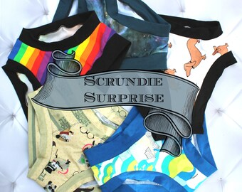 Panty Gift Subscription, Briefs Boyshort Thong, Womens Underwear, Womens Panties, Plus sized, Lingerie, Custom Scrundie, 1 Month, April