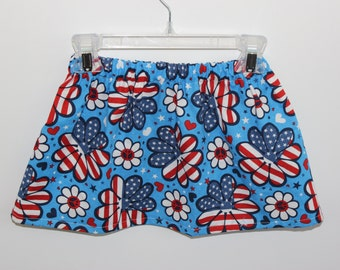 Girls Skirts 4th of July Skirt Red, White and Blue Skirt, Red, White and Blue Flower Skirt