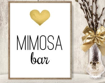 Mimosa Bar Sign // Watercolor Wedding Mimosa Sign DIY // Gold Heart, Watercolor Heart Sign, Printable PDF Poster ▷ Instant Download