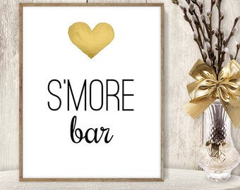 S'more Bar Sign // Watercolor Wedding Dessert Sign DIY // Gold Heart, Watercolor Heart Sign, Printable PDF Poster ▷ Instant Download