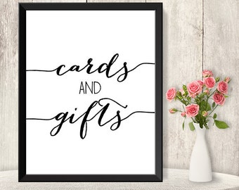 Cards And Gifts Sign  / Wedding Gift Table Sign DIY / Trendy Calligraphy Sign / 8x10 Sign / Printable PDF Poster ▷ Instant Download