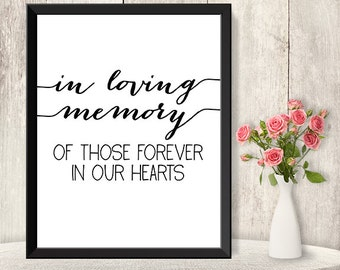 In Loving Memory Sign / Wedding Memorial Sign DIY / Trendy Calligraphy Sign / 8x10 Sign / Printable PDF Poster ▷ Instant Download