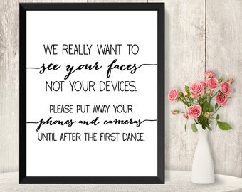 Unplugged Wedding Ceremony Sign / No Phones Wedding Sign DIY / Trendy Calligraphy Sign / Printable PDF Poster ▷ Instant Download