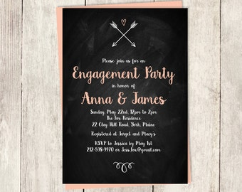 Engagement Party Invitation DIY / Rustic Chalkboard, Whimsical Arrow, Heart, Chalk Lettering / Engagement Invite PDF ▷ Printable PDF