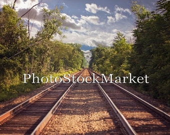 Train Tracks Backdrop - Digital background -  Railroad Tracks - Photoshop Background - Composite Background - Double Train Tracks