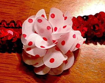 Baby/Child White/Red Polka Dot Stretchy Red Sequin Headband