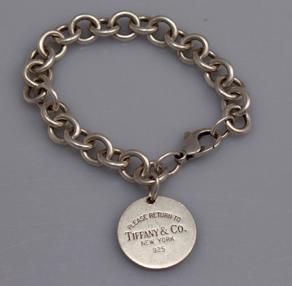 Tiffany Amp Co Chain Link Bracelet With Round Charm Sterling