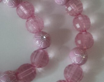 Pink Beaded Necklace and Bracelet Set  (#243)