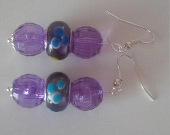 Purple Beaded Earrings   (#253)
