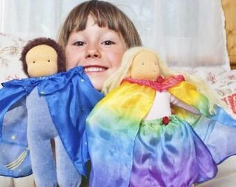 Waldorf Toy Doll Silk Clothes, Rainbow Doll Silk Capes, Waldorf Toy, Doll Dress Up