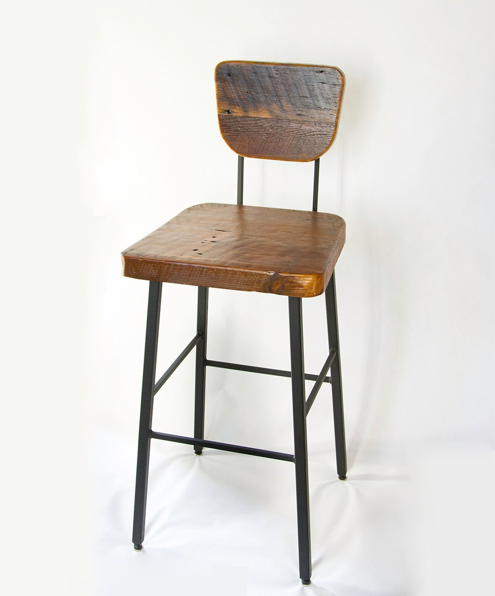 Reclaimed wood and steel bar stool chair by